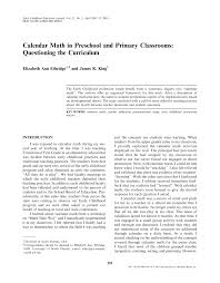 calendar math in preschool and primary classrooms questioning the  calendar math in preschool and primary classrooms questioning the curriculum pdf available