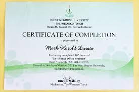 Profile Marks Portfolio Certificate Of Completion Ojt Dtk Templates