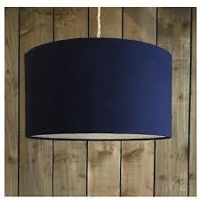 navy blue linen fabric drum light shade
