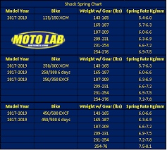 Spring Rate Chart Shock Springs New Pds For 2017 2019 Ktm Exc Xcw 6 Days