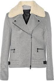 belstaff kingsley shearling trimmed wool and cashmere blend biker jacket gray belstaff women clo belstaff leather belstaff jacket uk
