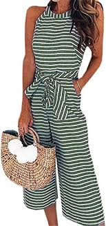 Miss Floral® Womens Striped <b>Wide Leg</b> Cropped Jumpsuit 5 Colour ...