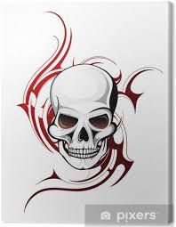 Obraz Lebka Tetování Tvar S Gotickým Ornament Na Pozadí Na Plátně