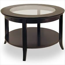 glass top round coffee tables wood base genoa round wood coffee table with glass top in