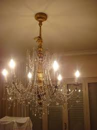 a genoese gilded wood and cut crystal glass 6 light chandelier italy early