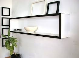 large box floating wall shelves in black and white