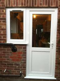 white upvc back door with side window