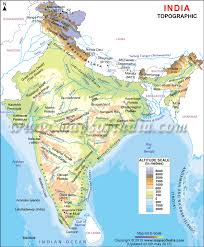India Map With Ranges Regional Map Of India Topographic Map