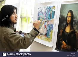 chinese copyist huang haifan from famous chinese artist village dafen copy famous oil paintings in hamburg germany 31 may 2010