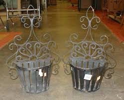 wrought iron half round wall planters