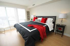 Business Condo. Design To Go. This black, white and red bedroom ...