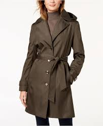calvin klein women s belted waterproof trench coat