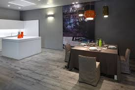 modern grey laminate wood flooring white freestanding kitchen