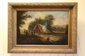 primitive antique oil painting in period frame