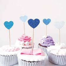 Online Shop 10pcs Heart Shaped Cake Topper Glitter Insert Cards