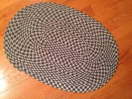 small oval braided rug teal blue white