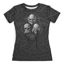 <b>Футболка</b> с полной запечаткой (женская) Skulls..see no evil,hear ...
