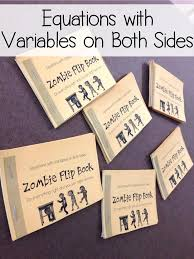 equations with variables on both sides zombie flip book