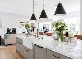 Grey And White Marble Top Island. Kitchen With Grey And White Marble Top  Island.