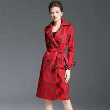 brand luxury trench overcoat 2018 spring autumn women elegant double ted plaid