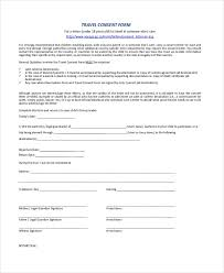 Parental Consent To Travel Form Template 3506147914201 Free Child