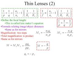 thin lenses 2 define the focal length 56 using the lens maker s equation