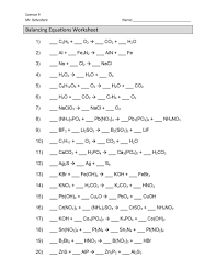 balancing chemical equations worksheets answers worksheet chemistry full size