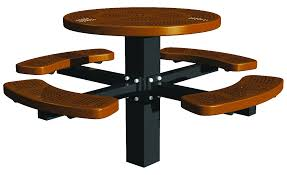 round picnic tables post mount round perforated picnic table