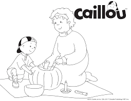 Print Color Caillou Grandma Pumpkin Carving