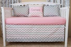 pink grey and white chevron baby bedding
