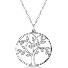 large diamond tree of life pendant necklace 14k white gold 0 15ct