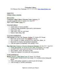 Sample Resume For Culinary Arts Student Sample Resume For Culinary
