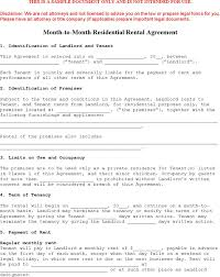 Sample Month To Month Lease Templates | Download Free & Premium ...