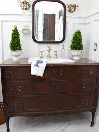 traditional dresser gets new life as bathroom vanity