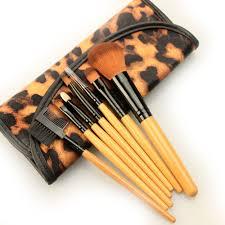 cheetah print makeup brush set