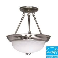 2 light brushed nickel dome semi flush mount light
