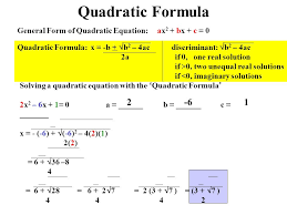 31 quadratic formula general form of quadratic equation ax2 bx c 0