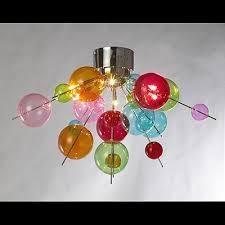 multicoloured molecular 6 light ceiling light