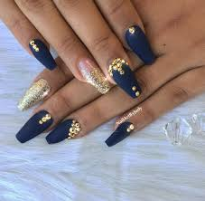 Blue And Gold Design Royal Blue And Gold Nails Nailpro In 2019 Gold Acrylic