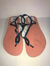 Details About New Without Tag Havaianas Size 11 12 W Womens Luna Flip Flops Pink Blue 4345an1