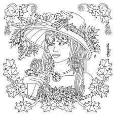 Color Therapy Coloring Pages Ra3m Pretty Lady With Floral Hat