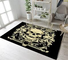 retro gothic skull home decor bedroom carpet anti slip room floor rug yoga mat