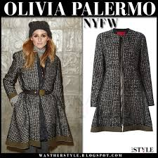olivia palermo in check print flared belted moncler coat overcoat what she wore nyfw winter outfit