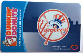 dunkin donuts gift card new york yankees logo 2006 empty no balance dd 1 of 2only 1 available