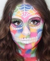pretty rainbow sugar skull