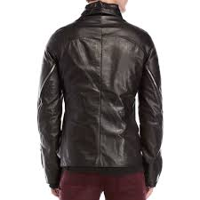 details about incarnation mens scarstitch black leather jacket m baby calf spiral arm overlock