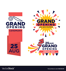 Grand Opening Invitations Grand Opening Ceremony On 25 August Emblems Set