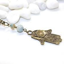 hamsa necklace unique hand of fatima buddha palm handmade amazonite spiritual healing jewelry made