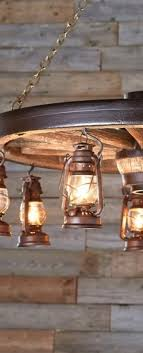 rustic wagon wheel lantern lighting
