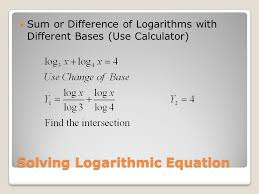13 solving logarithmic equation sum or difference of logarithms with diffe bases use calculator